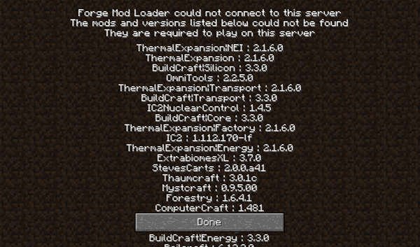 Forge Mod Loader could not connect to this server