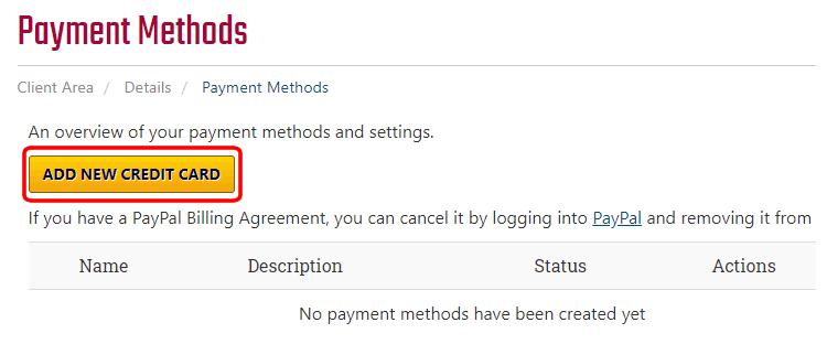 Add New Credit Card