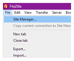 FileZilla Site Manager