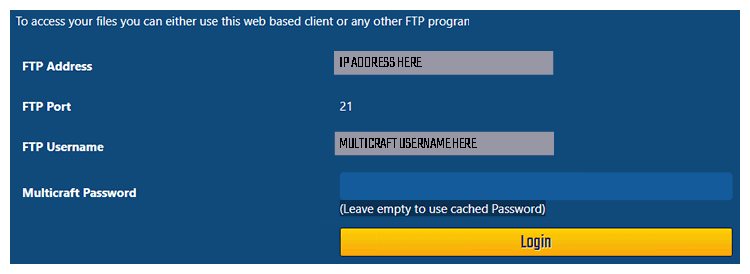 FTP Password and details