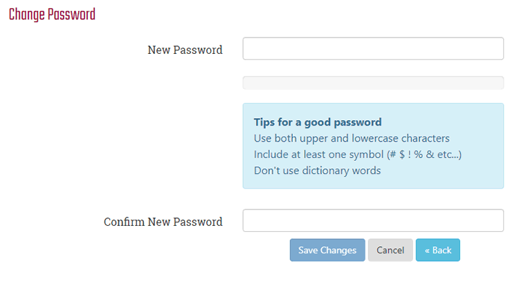 New Password Window