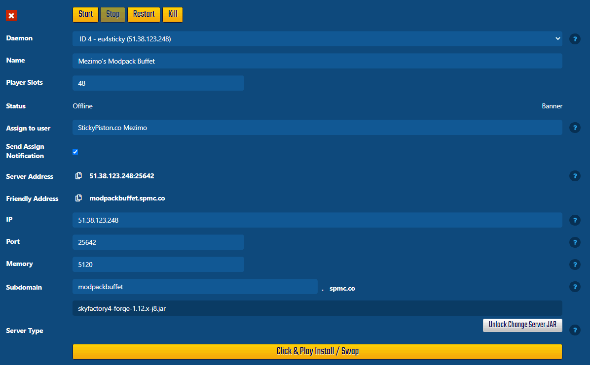 Multicraft Server page, this is where you manage your Minecraft server from