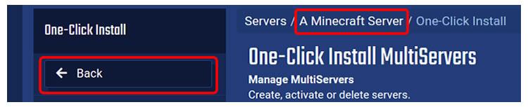 Navigate back to server control panel