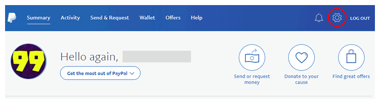 Click the gear icon to see PayPal options