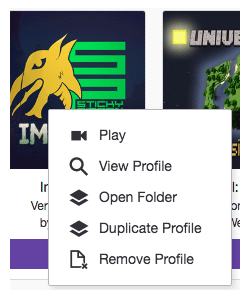 Twitch profile right click