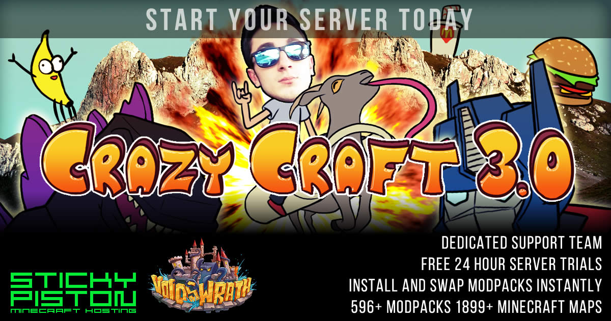 Crazy Craft 30 Server Hosting Rental Stickypiston