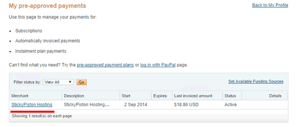 Click StickyPiston in the pre-approved payments list