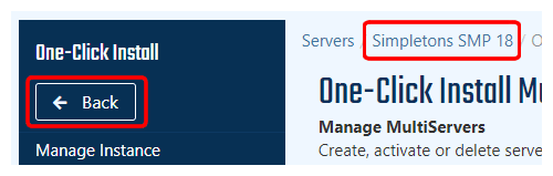 Navigate back to server control panel