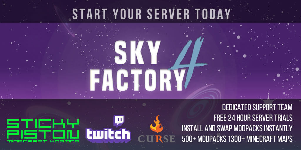 SkyFactory 4 Server Hosting on Curse | StickyPiston Hosting