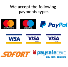 We accept PayPal, Mastercard, Maestro, Visa, Visa Debit, Paysafe payments