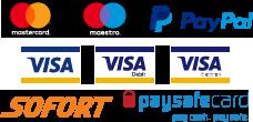 We accept PayPal, Mastercard, Maestro, Visa, Visa Debit, Paysafe payments